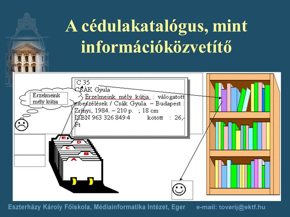 A cédulakatalógus, mint információközvetítő e-mail: tovarij@ektf.hu