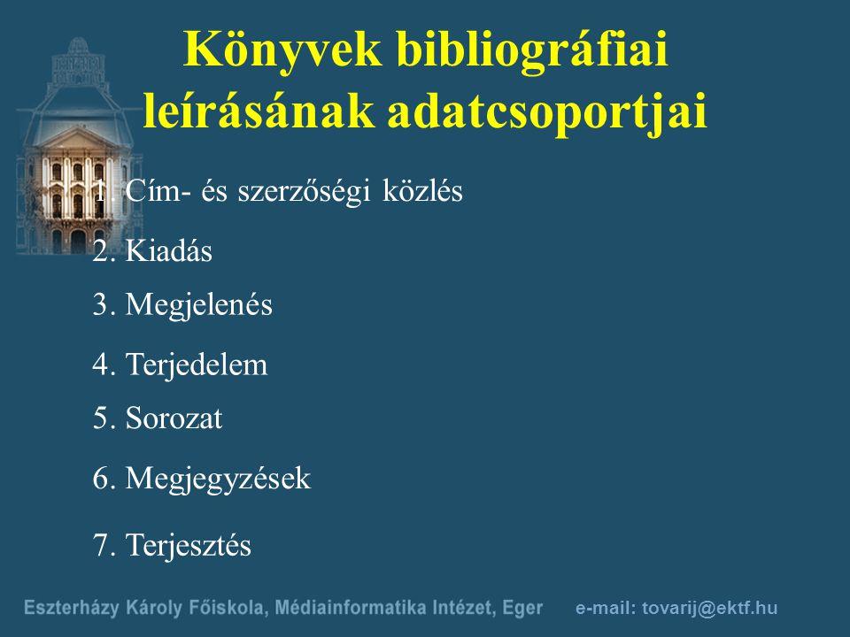 Könyvek bibliográfiai leírásának adatcsoportjai