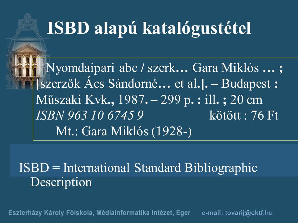 ISBD alapú katalógustétel