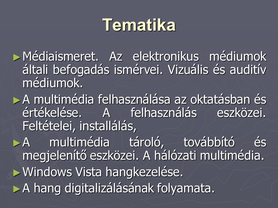 Tematika Médiaismeret. Az elektronikus médiumok általi befogadás ismérvei. Vizuális és auditív médiumok.