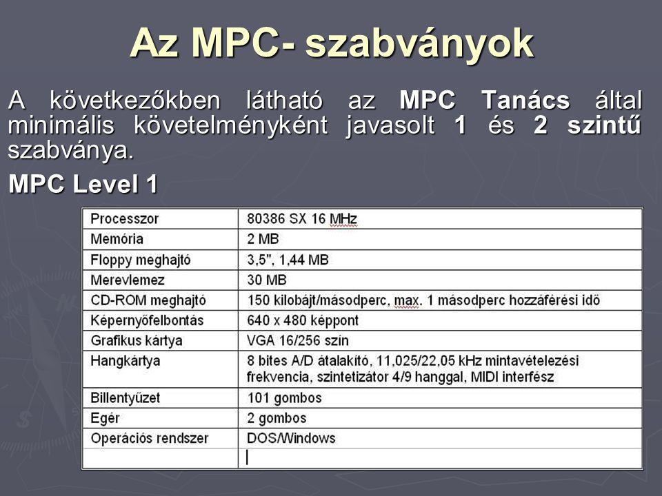 Az MPC- szabványok A következőkben látható az MPC Tanács által minimális követelményként javasolt 1 és 2 szintű szabványa.