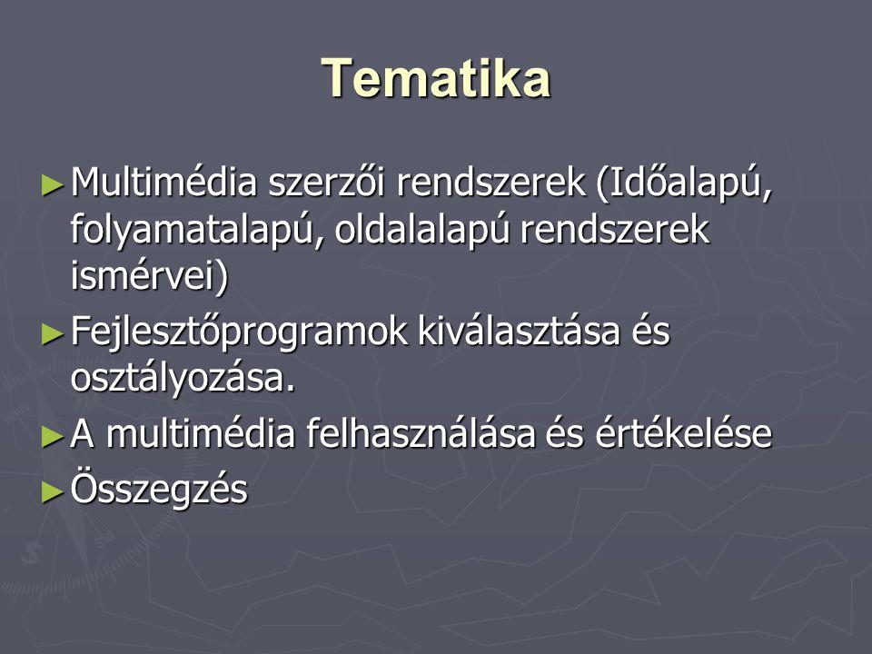 Tematika Multimédia szerzői rendszerek (Időalapú, folyamatalapú, oldalalapú rendszerek ismérvei) Fejlesztőprogramok kiválasztása és osztályozása.