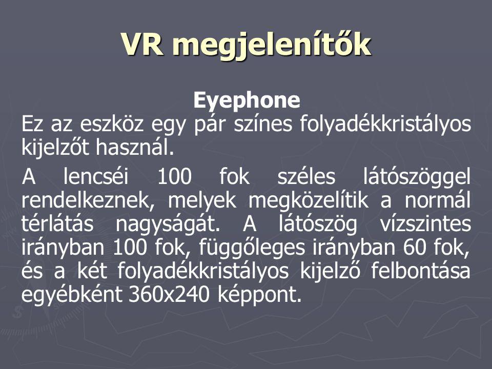 VR megjelenítők Eyephone Ez az eszköz egy pár színes folyadékkristályos kijelzőt használ.
