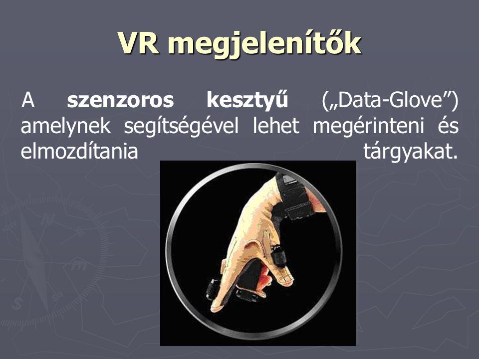 """VR megjelenítők A szenzoros kesztyű (""""Data-Glove ) amelynek segítségével lehet megérinteni és elmozdítania tárgyakat."""