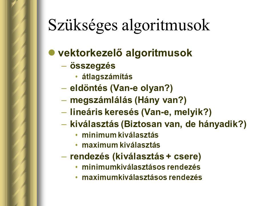 Szükséges algoritmusok