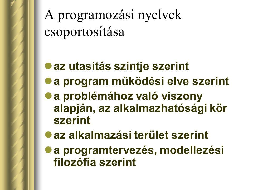 A programozási nyelvek csoportosítása