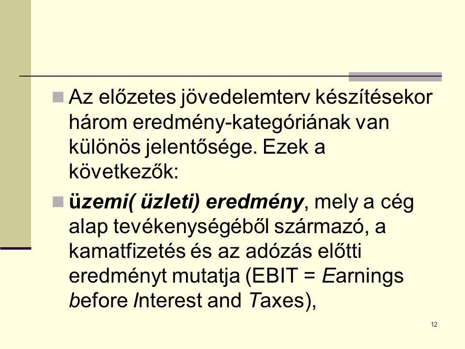 Az előzetes jövedelemterv készítésekor három eredmény-kategóriának van különös jelentősége. Ezek a következők: