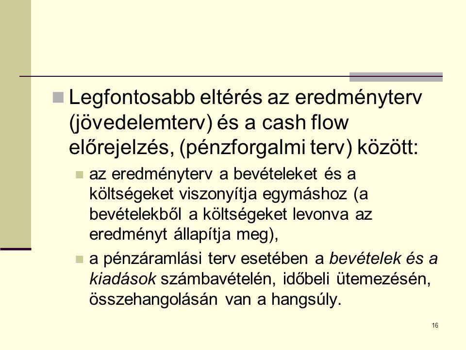 Legfontosabb eltérés az eredményterv (jövedelemterv) és a cash flow előrejelzés, (pénzforgalmi terv) között: