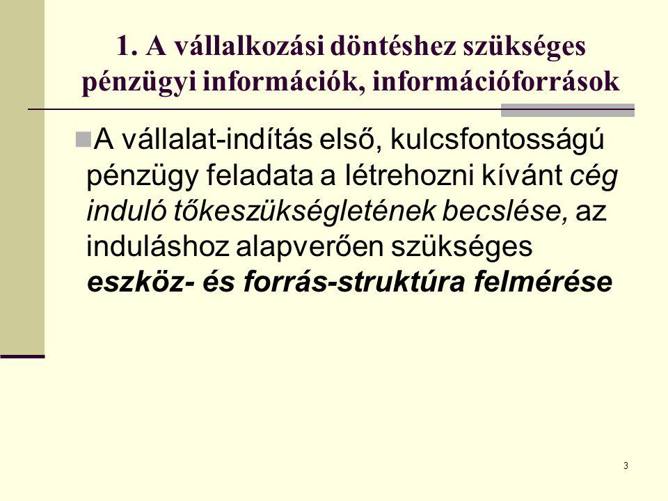 1. A vállalkozási döntéshez szükséges pénzügyi információk, információforrások