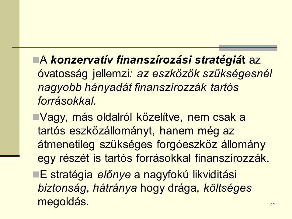 A konzervatív finanszírozási stratégiát az óvatosság jellemzi: az eszközök szükségesnél nagyobb hányadát finanszírozzák tartós forrásokkal.