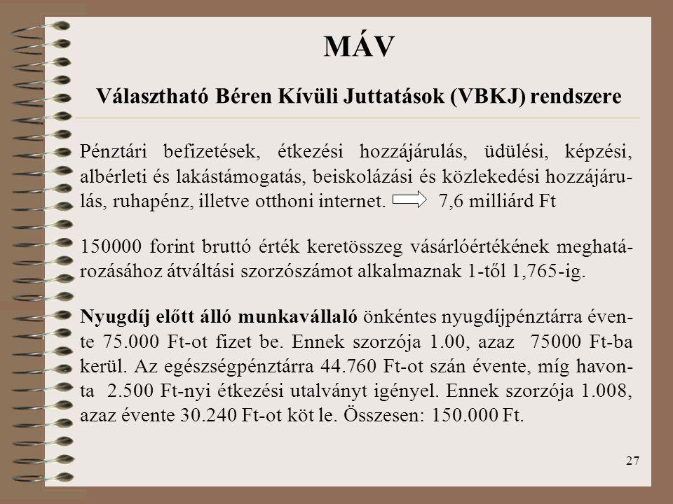 MÁV Választható Béren Kívüli Juttatások (VBKJ) rendszere