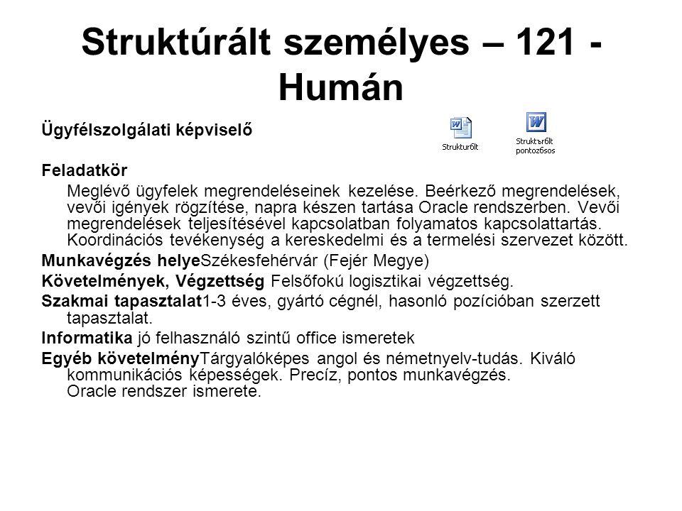 Struktúrált személyes – 121 - Humán