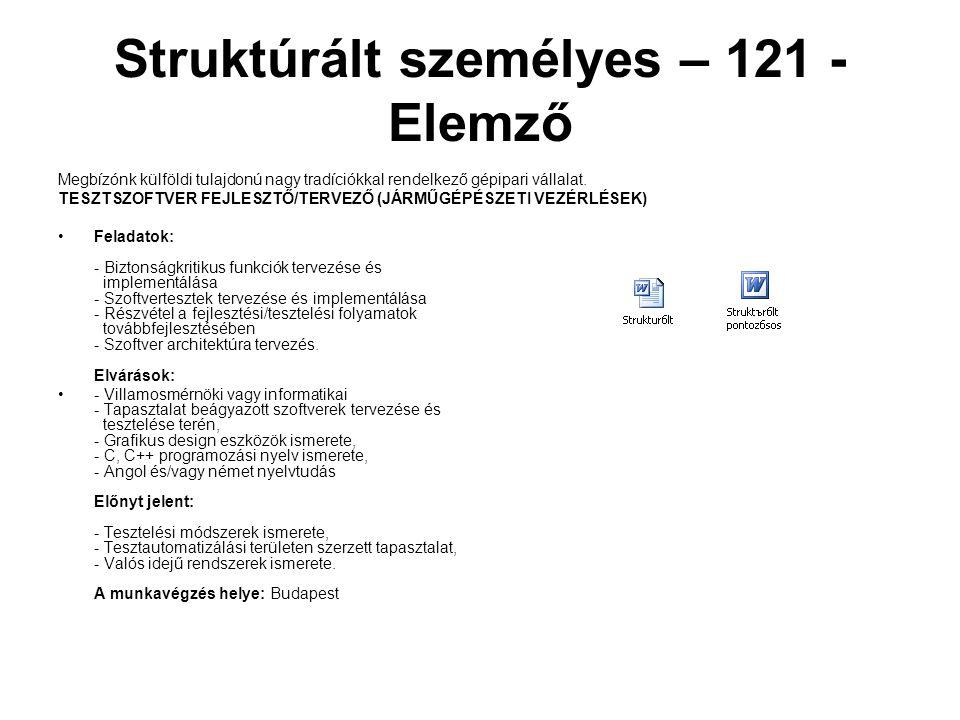 Struktúrált személyes – 121 - Elemző