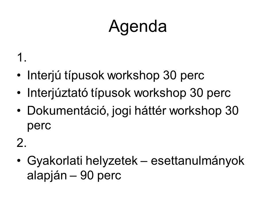 Agenda 1. Interjú típusok workshop 30 perc