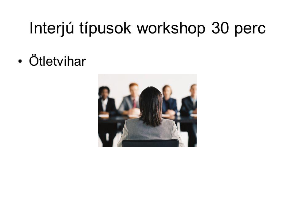 Interjú típusok workshop 30 perc