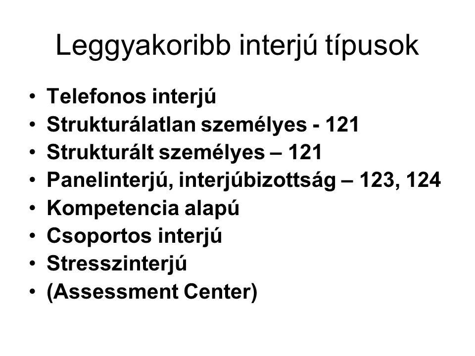 Leggyakoribb interjú típusok
