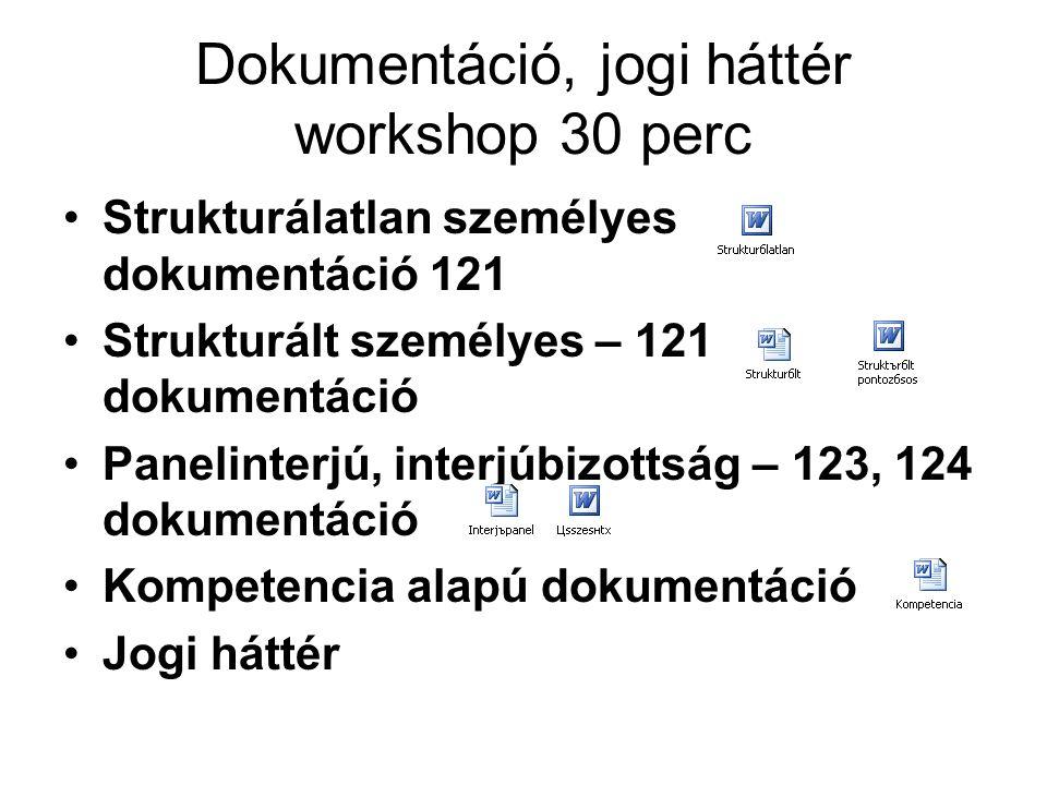 Dokumentáció, jogi háttér workshop 30 perc
