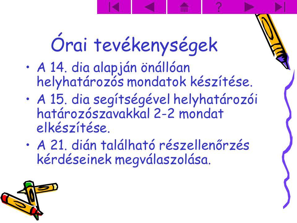 Órai tevékenységek A 14. dia alapján önállóan helyhatározós mondatok készítése.