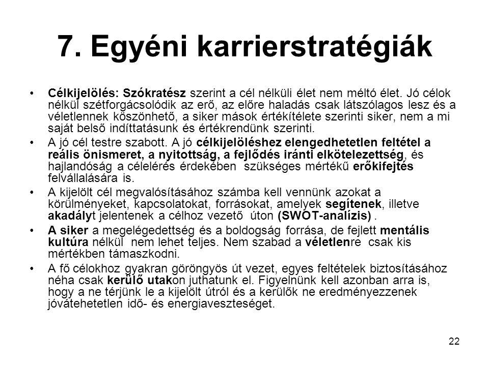 7. Egyéni karrierstratégiák
