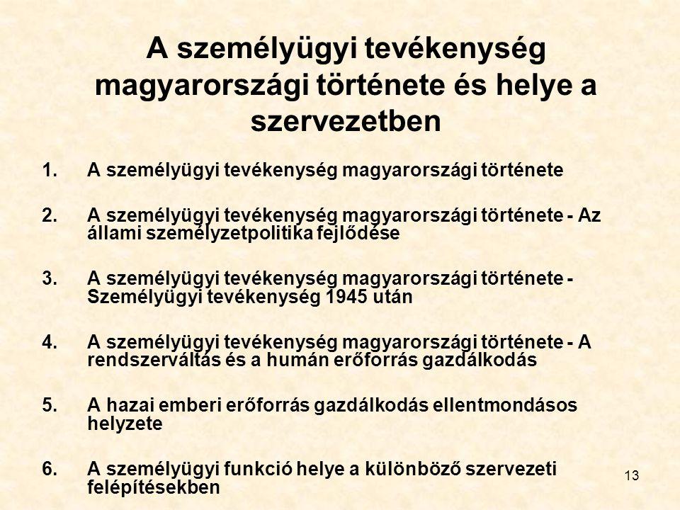 A személyügyi tevékenység magyarországi története és helye a szervezetben