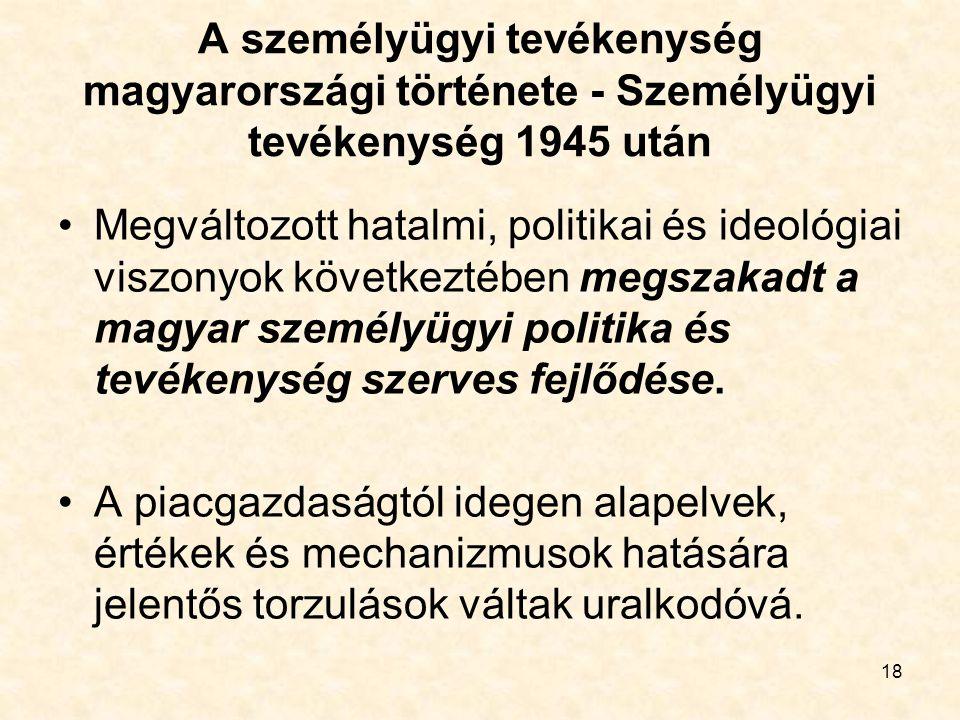 A személyügyi tevékenység magyarországi története - Személyügyi tevékenység 1945 után