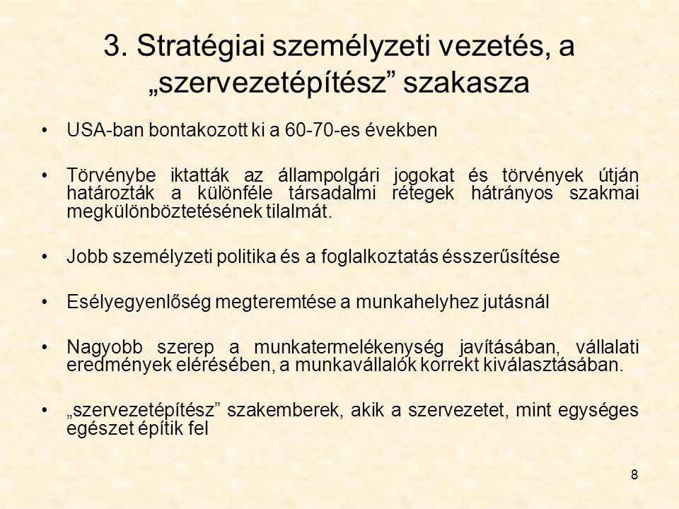 """3. Stratégiai személyzeti vezetés, a """"szervezetépítész szakasza"""