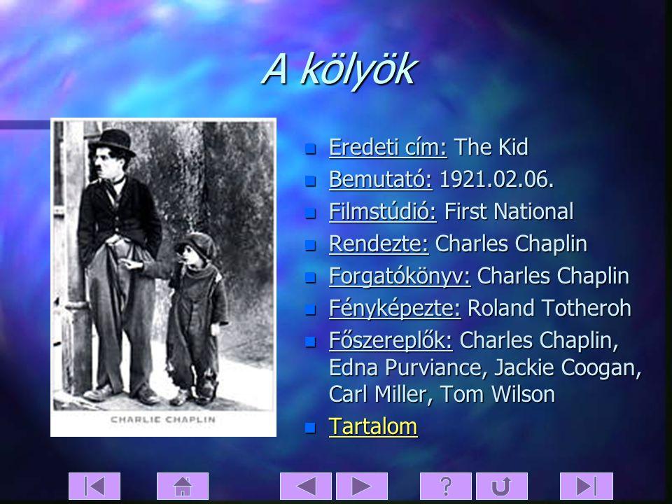A kölyök Eredeti cím: The Kid Bemutató: 1921.02.06.