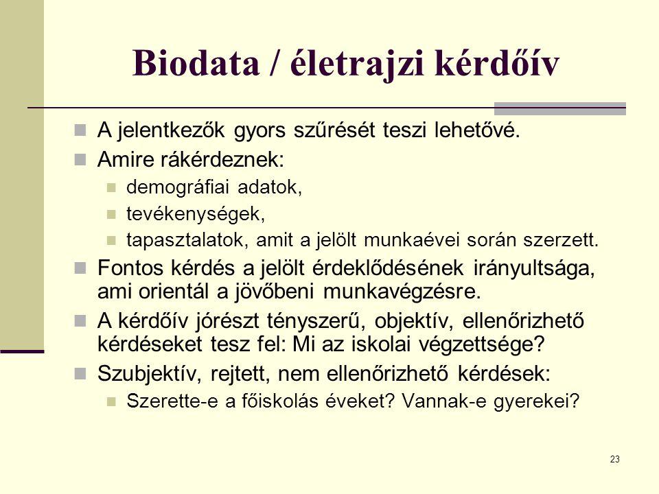 Biodata / életrajzi kérdőív