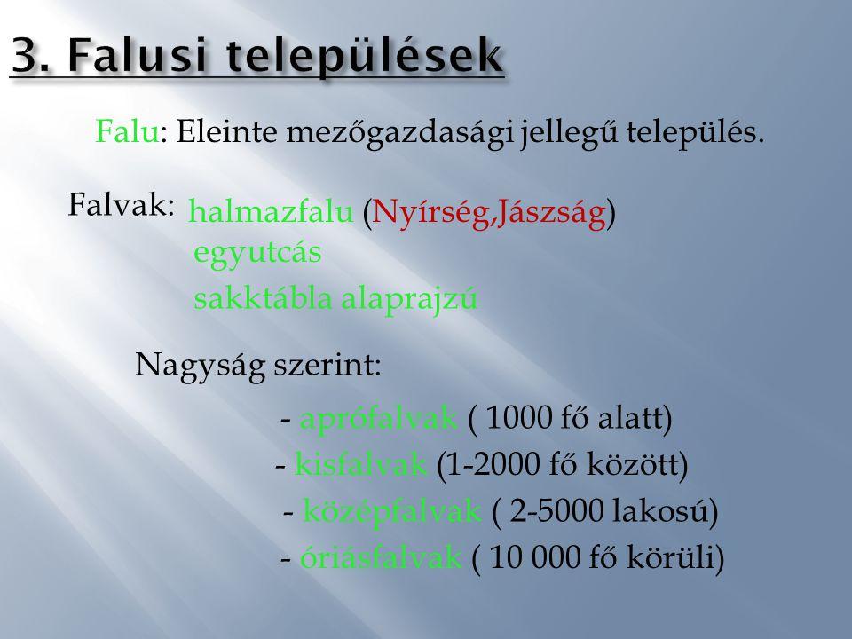 3. Falusi települések Falu: Eleinte mezőgazdasági jellegű település.
