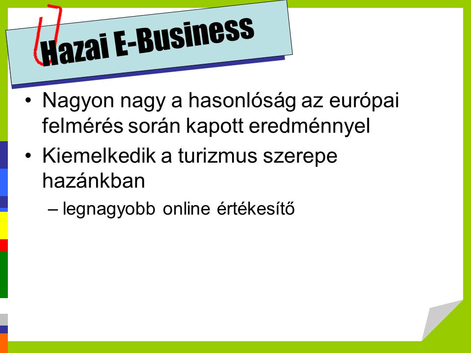 Hazai E-Business Nagyon nagy a hasonlóság az európai felmérés során kapott eredménnyel. Kiemelkedik a turizmus szerepe hazánkban.