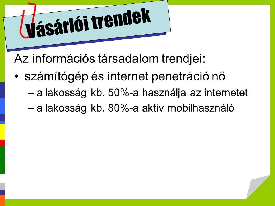 Vásárlói trendek Az információs társadalom trendjei: