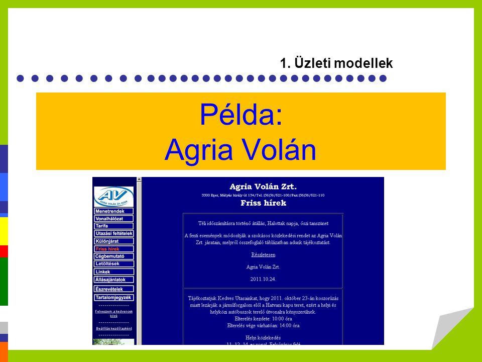1. Üzleti modellek Példa: Agria Volán