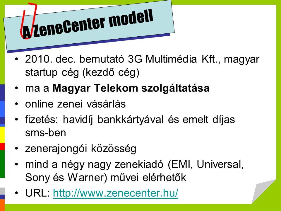 A ZeneCenter modell 2010. dec. bemutató 3G Multimédia Kft., magyar startup cég (kezdő cég) ma a Magyar Telekom szolgáltatása.