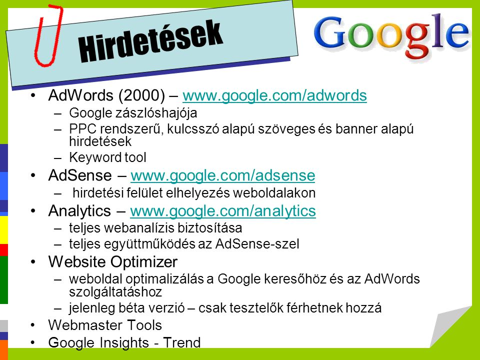 Hirdetések AdWords (2000) – www.google.com/adwords