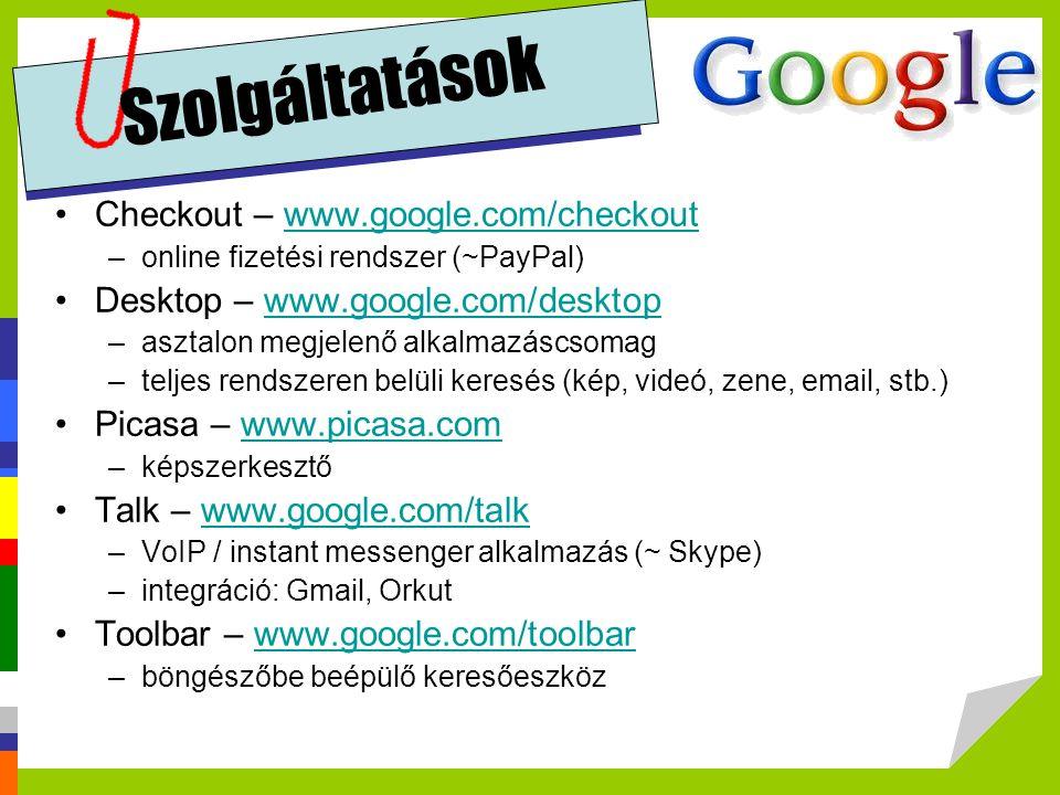 Szolgáltatások Checkout – www.google.com/checkout