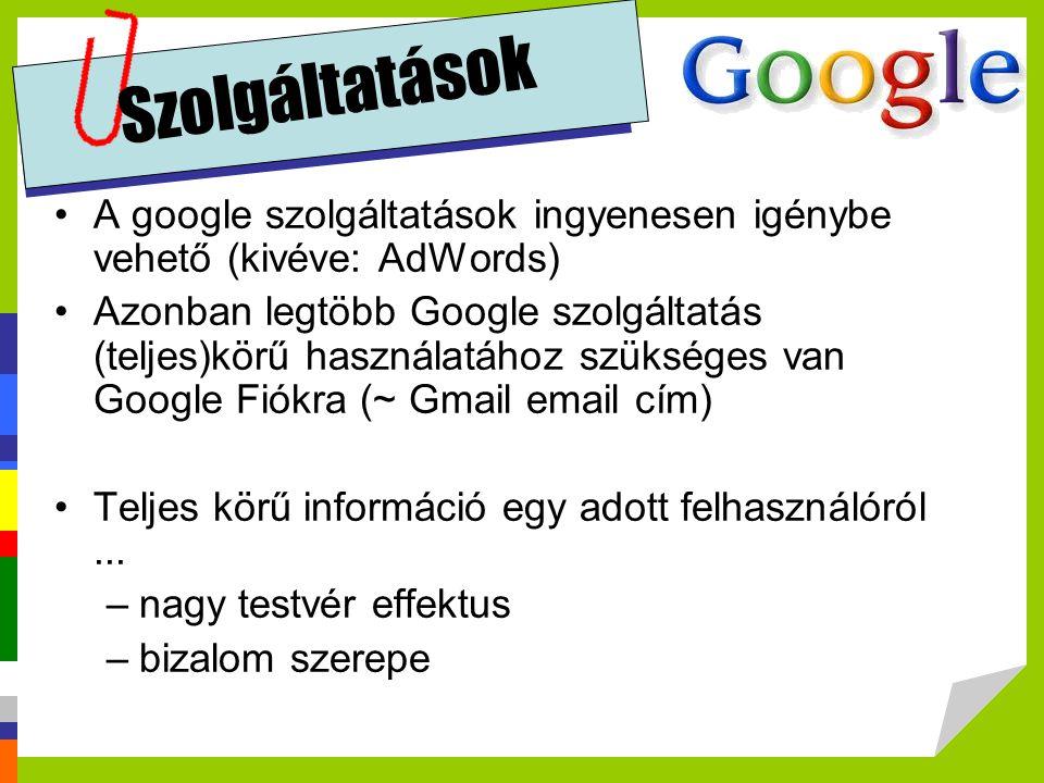Szolgáltatások A google szolgáltatások ingyenesen igénybe vehető (kivéve: AdWords)
