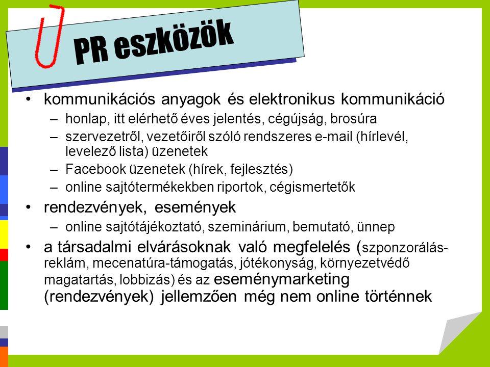 PR eszközök kommunikációs anyagok és elektronikus kommunikáció