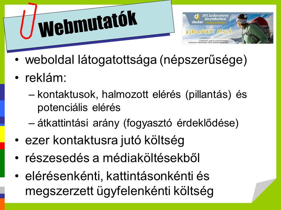Webmutatók weboldal látogatottsága (népszerűsége) reklám: