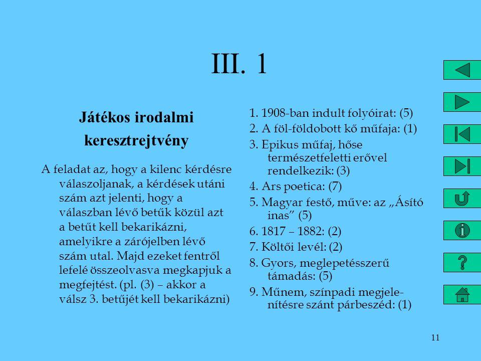 III. 1 Játékos irodalmi keresztrejtvény
