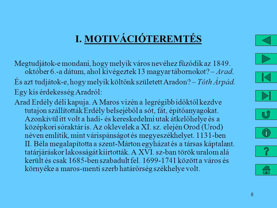 I. MOTIVÁCIÓTEREMTÉS