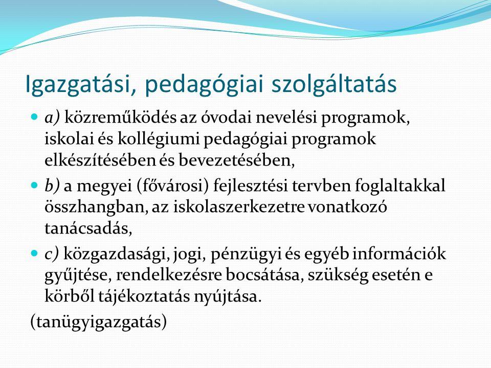 Igazgatási, pedagógiai szolgáltatás
