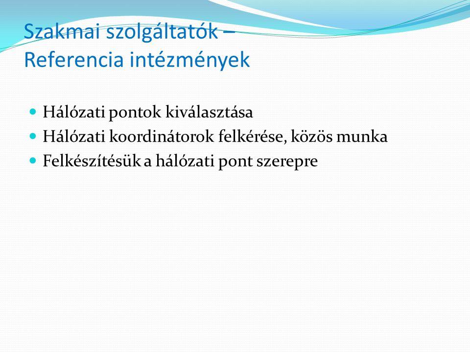 Szakmai szolgáltatók – Referencia intézmények