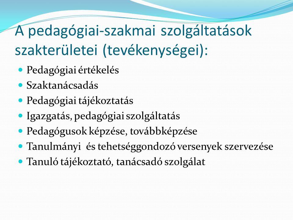 A pedagógiai-szakmai szolgáltatások szakterületei (tevékenységei):