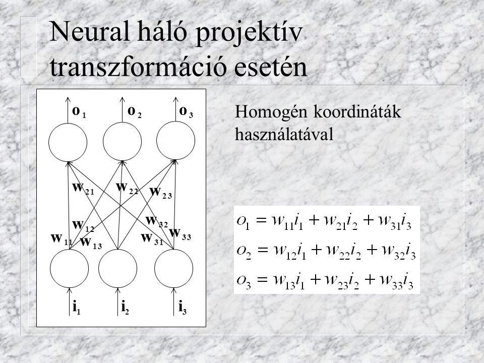 Neural háló projektív transzformáció esetén