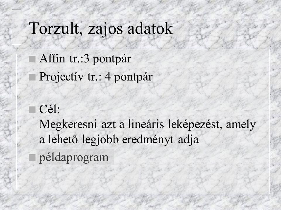 Torzult, zajos adatok Affin tr.:3 pontpár Projectív tr.: 4 pontpár