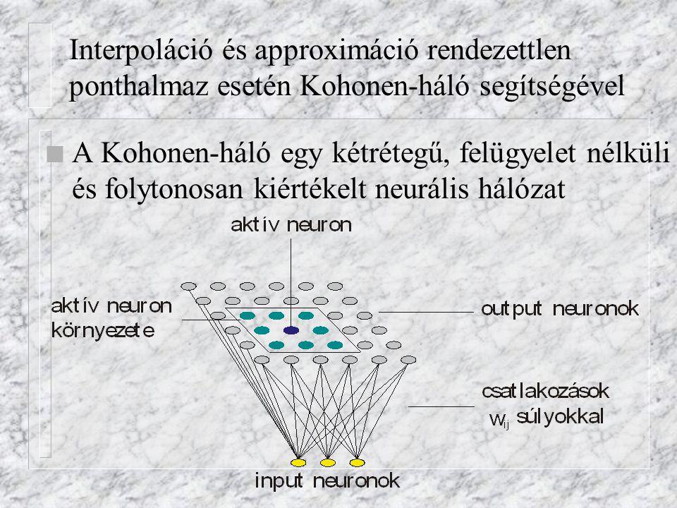 Interpoláció és approximáció rendezettlen ponthalmaz esetén Kohonen-háló segítségével