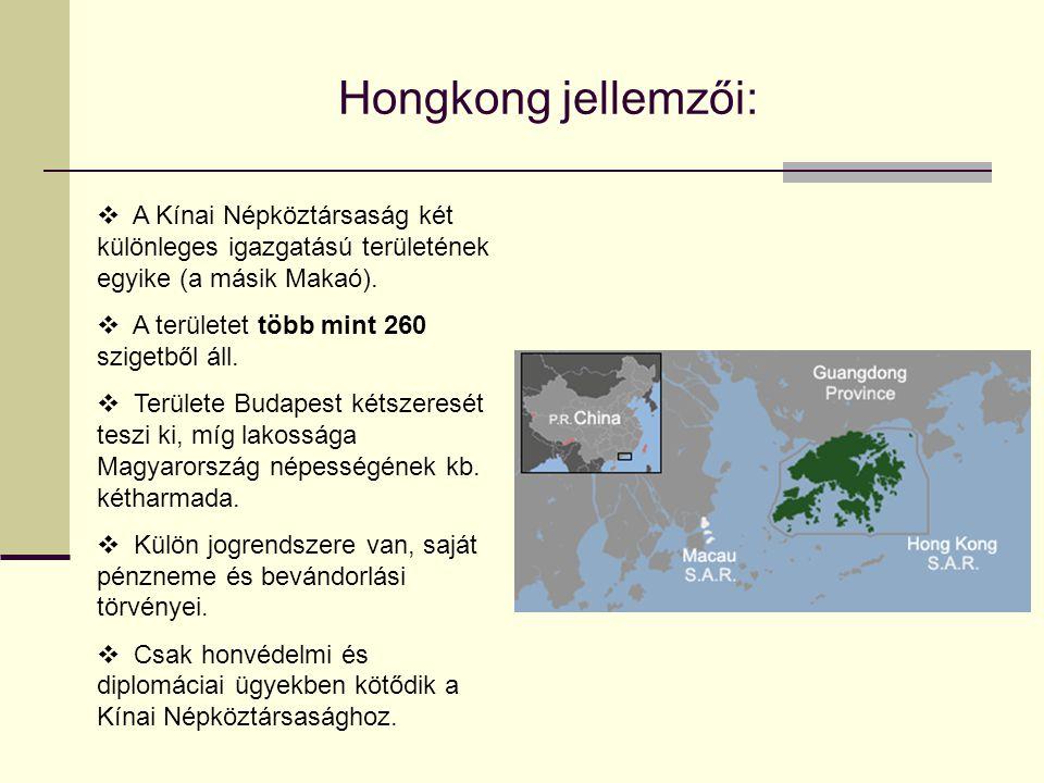 Hongkong jellemzői: A Kínai Népköztársaság két különleges igazgatású területének egyike (a másik Makaó).