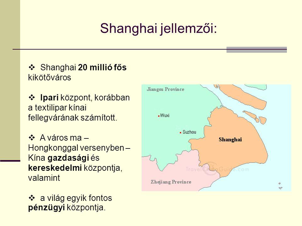 Shanghai jellemzői: Shanghai 20 millió fős kikötőváros