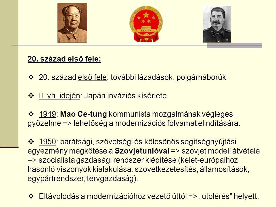 20. század első fele: 20. század első fele: további lázadások, polgárháborúk. II. vh. idején: Japán inváziós kísérlete.