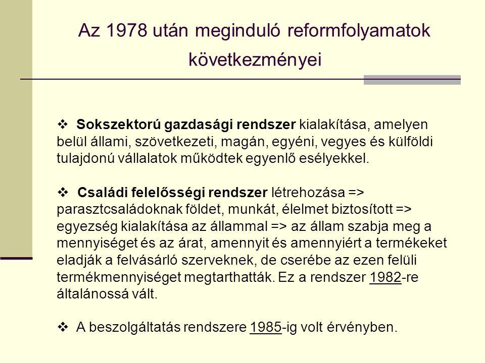 Az 1978 után meginduló reformfolyamatok következményei